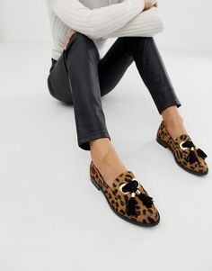 9bb2ed688cc DESIGN Mimic leather loafer flat shoes in leopard print