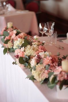 Floral and eucalyptus lining the head table - Elegant pink and white wedding reception inspiration Long Table Decorations, Garden Wedding Decorations, Wedding Flower Arrangements, Flower Bouquet Wedding, Flower Decorations, Wedding Centerpieces, Wedding Guest Table, Wedding Table Settings, Wedding Reception
