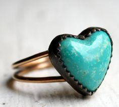 Turquoise Heart Ring- Oxidized Sterling Silver and 14k Gold Filled Band                 www.madamebridal.com