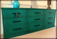 Hacked from 3 Ikea RAST cabinets and painted in Annie Sloan Florence with dark wax