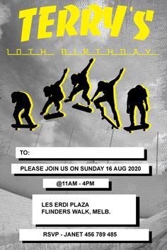This Thrasher Magazine inspirted invitation is an awsome birthday invitation for that skateboy that is celebrating his next birthday party at the local skate park. Personalise it using the order form. Send it your way, print, online, text or instant message. You choose how to share it with your family and friends. Birthday Party At Park, It's Your Birthday, Birthday Parties, Online Text, Thrasher Magazine, Boy Birthday Invitations, Order Form, Personalized Invitations, Skate Park