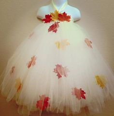 Fall Leaves tutu dress, Autumn Leaves, Fall Wedding Flower Girl Dress, Rustic Flower girl dress