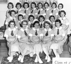 """1960 graduating class of Notre Dame de Lourdes Hospital School of Nursing in Manchester, NH; operated from 1911-1965; source: """"Aurore Eaton's Looking Back: The Notre Dame de Lourdes School of Nursing — a legacy of service,"""" from New Hampshire Union Leader, September 23, 2013 Manchester Nh, Back Row, School Pictures, New Hampshire, Looking Back, Great Britain, Notre Dame, The Row, Student"""