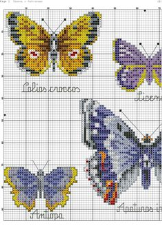 Cross stitch butterfly and chart. butterflys-2-3