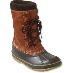 L.L.Bean Women's Snow Boots With Tumbled Leather ($149) ❤ liked on Polyvore featuring shoes, boots, genuine leather boots, fleece-lined boots, slip resistant shoes, leather snow boots and waterproof snow boots