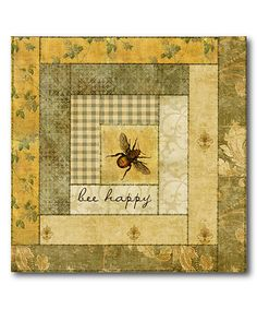 Look what I found on #zulily! Green Quilt 'Bee Happy' Wrapped Canvas #zulilyfinds