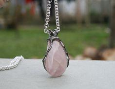 pink quartz pendant statement pendant rose by Blacksmithworkshop