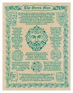 Pagan Parchment Poster - Greenman | The Magickal Cat Online Pagan/Wiccan Shop