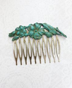 Patina Flower Comb Verdigris Dogwood Branch by apocketofposies