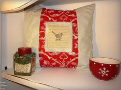 Cottage Bird on a Branch 18 Inch Decorative by greenwillowpond, $39.00