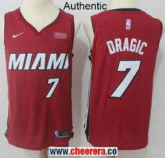 Men s Nike Miami Heat  7 Goran Dragic Red NBA Authentic Statement Edition  Jersey 71128637e