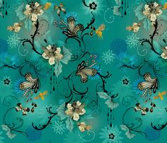 The Butterflies And The Bees fabric by milliondollardesign on Spoonflower - custom fabric