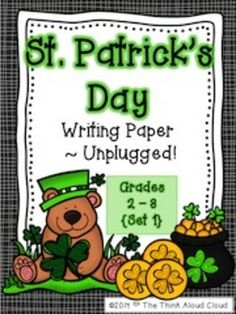 St. Patrick's Day Writing Paper~UNPLUGGED. UNPLUGGED = no craft and no lesson. Use this seasonal writing paper to add a writing component to any craft or activity. {Grades 1-3}  $   #TpT  #TeachersPayTeachers #StPatricksDay  #Writing