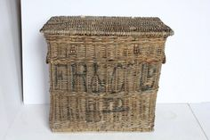 Large Antique Travel Wicker Basket/Trunk | From a unique collection of antique and modern bowls and baskets at https://www.1stdibs.com/furniture/decorative-objects/bowls-baskets/