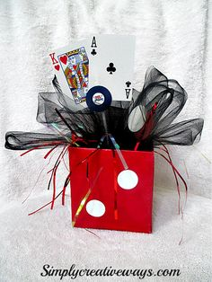 Casino Night Dice Centerpieces - Simply Creative Ways Las Vegas Party, Vegas Theme, Casino Night Party, Casino Theme Parties, Poker Party, Casino Decorations, Party Centerpieces, New Years Eve Party, Bar Mitzvah