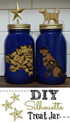 Tutorial: Making a Silhouette DIY Dog Treat Jar Looking for a great gift for the dog lover in your life? See how we made these custom ‪ dog treat jars jam packed with Natural Balance Pet Foods dog treats! A lucky reader will win their very own! Diy Pour Chien, Dog Lover Gifts, Dog Lovers, Croquettes Chat, Diy Pet, Diy Dog Toys, Pet Toys, Dog Treat Jar, Diy Dog Treats