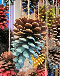 WINDOW DISPLAY: How cute would it be to have half painted pine cones hanging in the window for a Winter/Christmas display. Christmas Pine Cones, Christmas Crafts, Christmas Balls, Xmas Tree, Winter Christmas, Christmas Ornaments, Pine Cone Decorations, Christmas Decorations, Fall Window Decorations