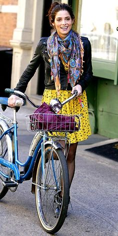 fashion event style: GIRLY BIKER.  This yellow floral dress looks edgier with a leather biker!