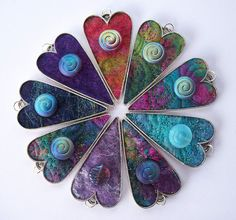 Textile Felt Art Heart Pendants - add three more and it's a wonderful idea for a wall clock!