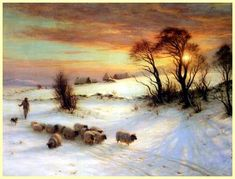 Joseph Farquharson 'HERDING SHEEP IN A WINTER LANDSCAPE'. Peter and Sally must herd sheep in snow in bad winters. Very tough.