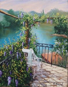 La terrasse - Painting,  27x35 cm ©2011 by Nathalie Armand -  Painting, Oil