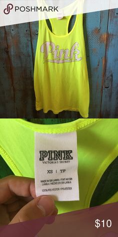 PINK workout tank PINK neon workout tank. Excellent condition. No rips, stains, or tears. PINK Victoria's Secret Tops Tank Tops
