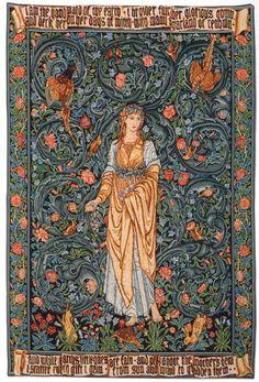 Flora Tapestry - Flora, The Roman Goddess of Flowers, an early design of Edward Burne-Jones's, incorporating William Morris' decorative details. Flora was woven between at Morris & Co. Art Nouveau, William Morris Art, Edward Burne Jones, Art Chinois, Medieval Tapestry, Cult, Art Japonais, Tapestry Design, Pre Raphaelite