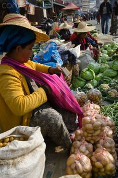 Weekly food market, Myanmar (Burma)