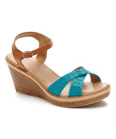 Look at this #zulilyfind! Blue & Tan Crisscross Wedge Sandal by Carrini #zulilyfinds