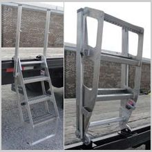 The Mounted 'Utility' Trucker provides the standard three step Trucker I configuration with a steel bracket for more permanent mounting. Utility Trucker also pivots up 180 degrees for storage on the trailer deck. https://www.iascustom.com/store/truck-trailer-ladders/utility-trucker/