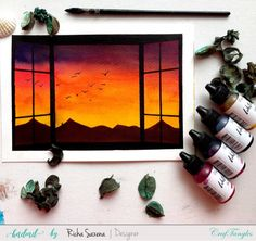 Sunset through my window - Watercolor piece by Richa using CrafTangles watercolor products Watercolor Art Lessons, Watercolor Paintings For Beginners, Simple Canvas Paintings, Canvas Painting Tutorials, Easy Canvas Art, Paintings Of Nature, Simple Paintings For Beginners, Watercolour, Canvas Painting Designs