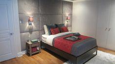 Design V.I.P. - La loge / chambre d'appoint de Catherine-Anne Toupin Logs, Decoration, Vip, Bedroom, Wall, Design, Velvet, Furniture, Home Decor