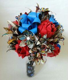 Paper flower origami bouquet Spiderman Marvel Comic book theme wedding bridal bouquet Www.lilybellekeepsakes.com