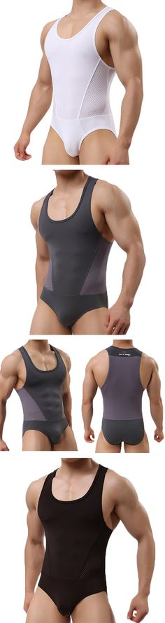 US$17.30 (47% OFF) Sexy Summer Fitness One Piece Tops Casual Sport Jumpsuits for Men