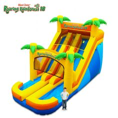 The Roaring Rainforest 18 Ultra Slide can be used dry year round. This is the Big Brother of the popular Roaring Rainforest, with a bigger slide, and the addition of a second sliding lane! Commercial Water Slides, Outdoor Fun, Outdoor Chairs, House Slide, Inflatable Water Park, Inflatable Bouncers, Sand Bag, Pvc Material, Panel Art