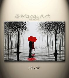 original abstract paintingred umbrellalove couplehome by maggyart