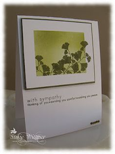 Sponged background, stamped with gingko leaf stamp, sympathy card.