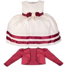Girls Burgundy & Ivory Ribbon Rosette Dress & Bolero Jacket