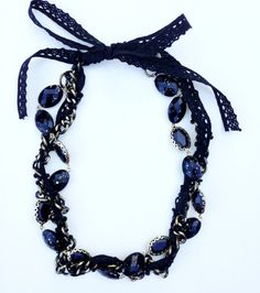 Handmade Black and Gold Statement Necklace with by UnbiasedHeart, $30.00