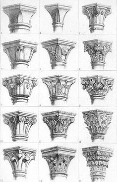 Gothic capitals by John Ruskin: - Gothic capitals by John Ruskin: . - Gothic capitals by John Ruskin: – Gothic capitals by John Ruskin: – - Architecture Antique, Art Et Architecture, Classic Architecture, Architecture Details, Gothic Style Architecture, Architecture Sketchbook, Islamic Architecture, Sustainable Architecture, John Ruskin