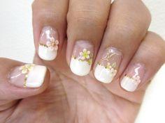 gel nail french* flowers nail / kayo