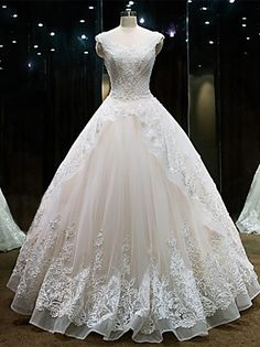 Princess+Wedding+Dress+Floor-length+Sweetheart+Lace+/+Tulle+with+Beading+/+Lace+–+USD+$+800.00