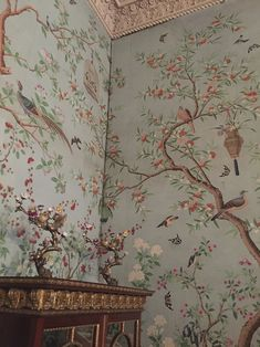 About our chinoiserie wallpapers — Allyson McDermott Interior Wallpaper, Chinoiserie Wallpaper, Room Wallpaper, Fabric Wallpaper, Modern Wallpaper, Hand Painted Wallpaper, Hand Painted Walls, Vintage Bird Wallpaper, Chinese Wallpaper