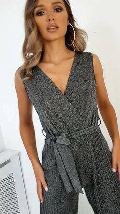 Kally Sleeveless Tie Slinky Jumpsuit at ikrush Sexy Outfits, Dress Outfits, Fashion Outfits, Womens Fashion, Dresses, Prom Jumpsuit, Fashion Videos, Professional Outfits, Jumpsuits For Women