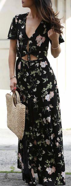 #spring #outfits fleur d'impression noire Maxi Dress & sac fourre-tout