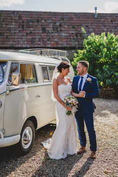 Volkswagon Campervan -   Image by Sam Gibson - Bride wears lace wedding dress at a rustic wedding in Almonry Barn Somerset. Bridesmaids & Groomsmen outfits from Debenhams