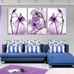 Find More Painting & Calligraphy Information about ART Purple Flowers  3 Piece Hot Sell Modern Wall Painting Home Decorative Art Picture Paint on Canvas Printshome decoration,High Quality painting pail,China painting home decor Suppliers, Cheap decorative painting on glass from Art Life  Store on Aliexpress.com