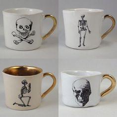 Skull tea cup set #home #decor #diy