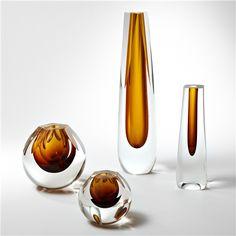 Global Views Shaped Amber Glass Vase