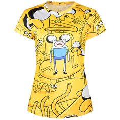 Yellow Womens Crew Neck Adventure Time Finn Jake Printed T-shirt ($14) ❤ liked on Polyvore featuring tops, t-shirts, crew neck top, crewneck t shirt, crew neck t shirt, yellow t shirt and crew neck tee
